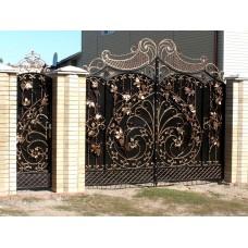 """Ворота с элементами ковки в форме цветов """"Хосефина"""""""