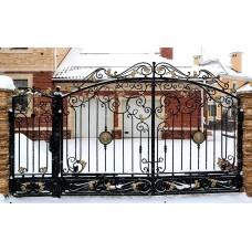 """Ворота с коваными элементами в форме листочков """"Альта"""""""
