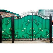 """Ворота с металлическими листьями и вензелями """"Диляна"""""""