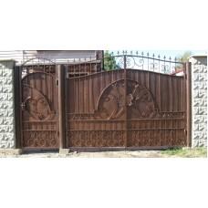 """Кованые ворота и калитка с вензелями и пиками """"Магна"""""""