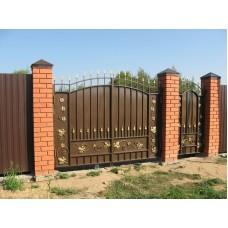 """Кованые ворота и калитка с пиками """"Родос"""""""