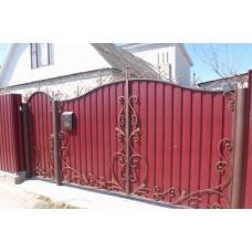Ворота из профнастила с элементами ковки 6