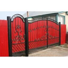 Ворота из профнастила с элементами ковки 17