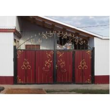 Ворота из профнастила с элементами ковки 16