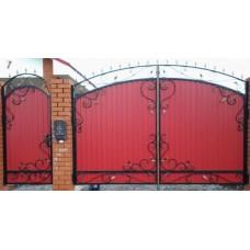 Ворота из профнастила с элементами ковки 15