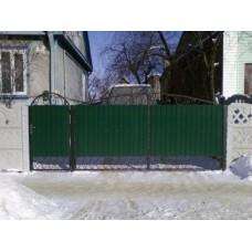 Ворота из профнастила с элементами ковки 12