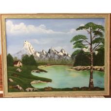 Картина маслом ′Лесное озеро′