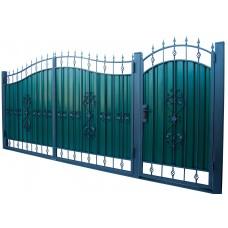 Ворота из профлиста с ковкой WQ21