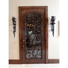 Кованая дверь с деревянным каркасом