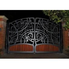 Распашные кованые ворота в технике модерн