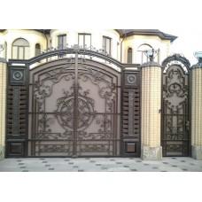 Большие кованые распашные ворота