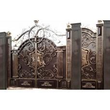 Распашные ворота с применением ковки