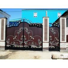 Ворота из профлиста с применением ковки