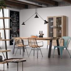 Обеденный стол из дерева и металла 200х95 см