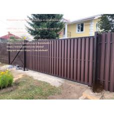 Ворота откатные из профнастила, откатные ворота с верхним подвесом