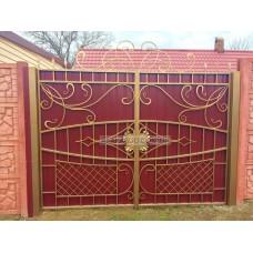 Ворота из профлистом с элементами ковки Арт-Нуво
