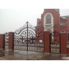 Распашные кованые ворота для храма